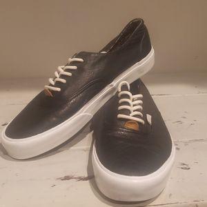 Van's classic black leather sneakers